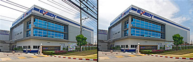 Photo retouching showing factory building picture before and after